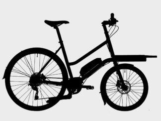 black and white silhouette of the E-Mini-Variant bike