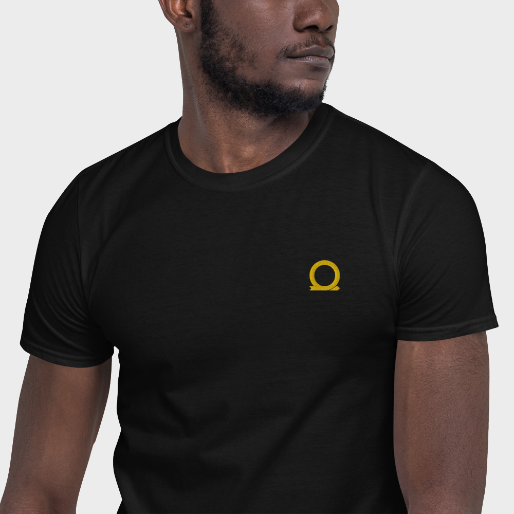 Mockup of a black machine embroidered t-shirt with Omnium logo
