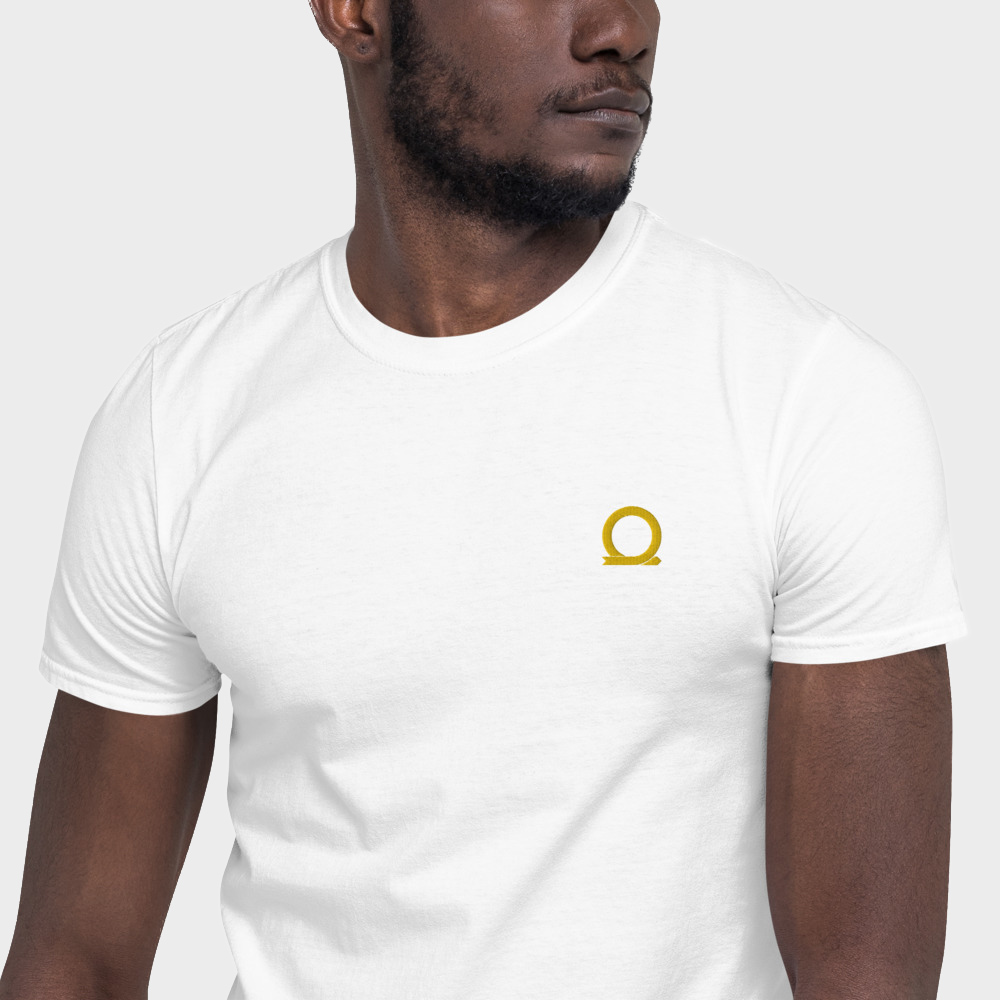 Mockup of a white machine embroidered t-shirt with Omnium logo